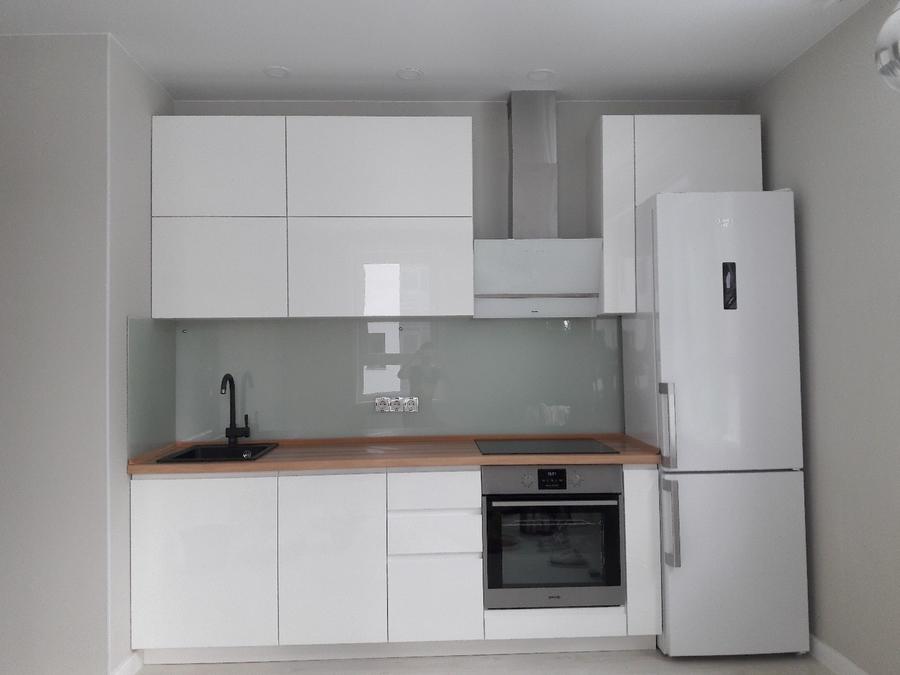 Белый кухонный гарнитур-Кухня МДФ в эмали «Модель 447»-фото1