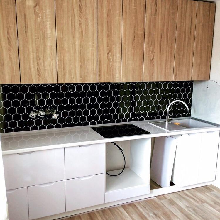 Белый кухонный гарнитур-Кухня МДФ в эмали «Модель 421»-фото2
