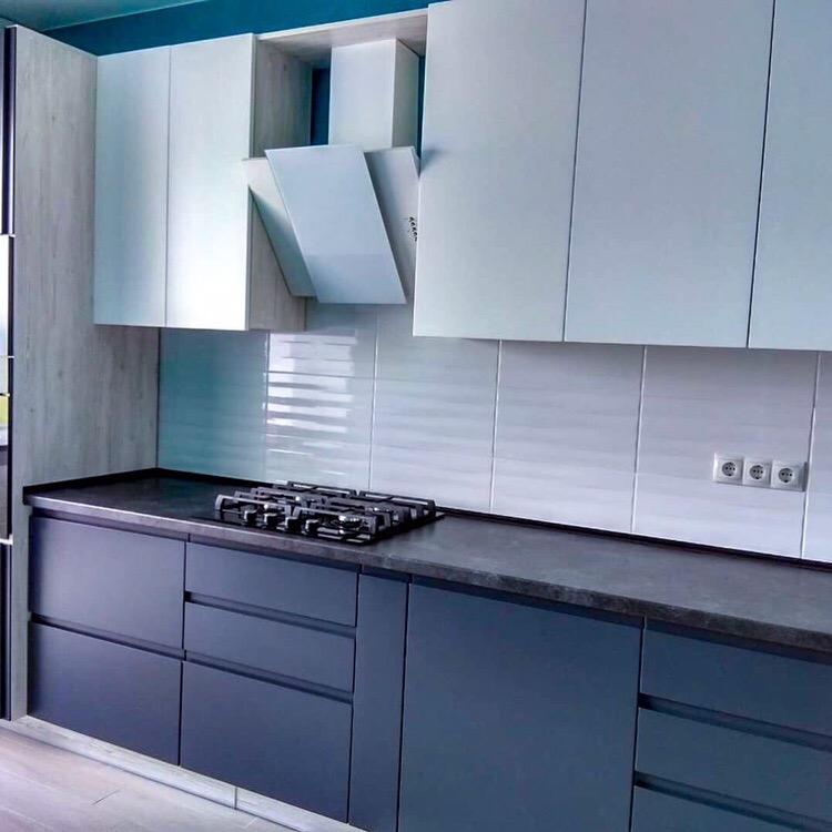 Белый кухонный гарнитур-Кухня МДФ в эмали «Модель 419»-фото2