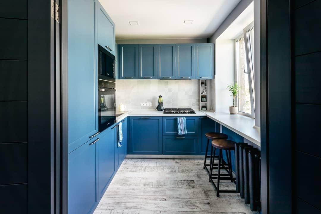 Встроенная кухня-Кухня МДФ в эмали «Модель 612»-фото1