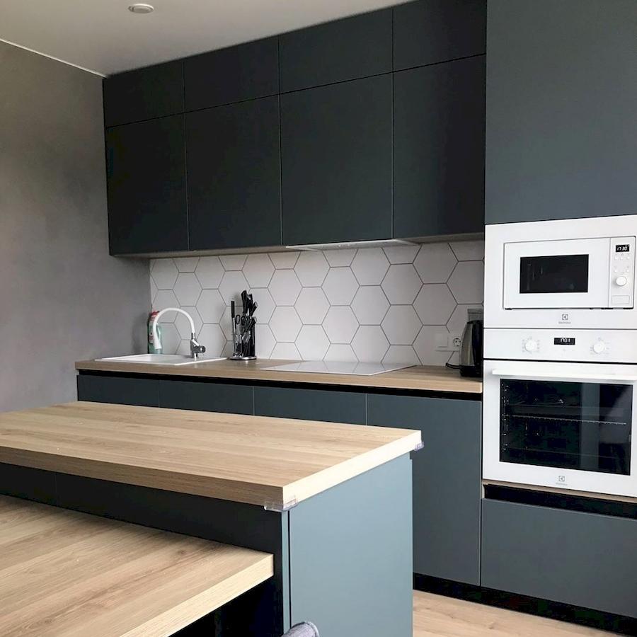 Встроенная кухня-Кухня МДФ в ПВХ «Модель 596»-фото1