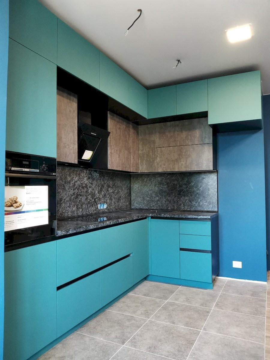 Купить бирюзовую кухню-Кухня МДФ в ПВХ «Модель 576»-фото2