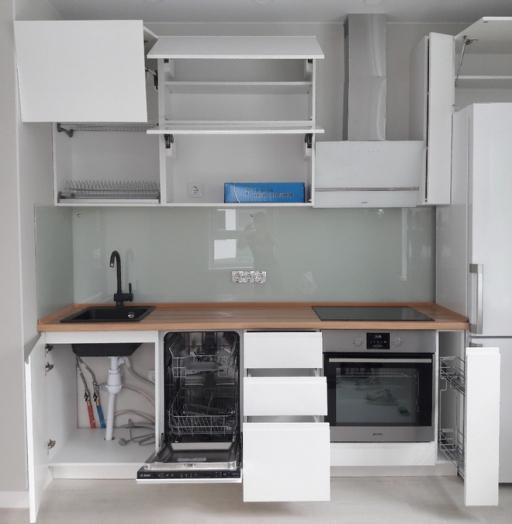 Белый кухонный гарнитур-Кухня МДФ в эмали «Модель 447»-фото2