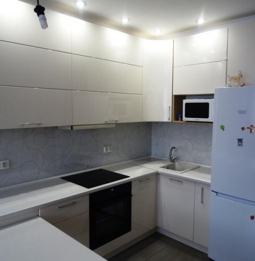 Белый кухонный гарнитур-Кухня МДФ в ПВХ «Модель 516»-фото3