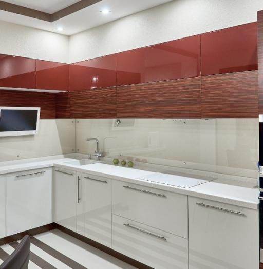 Высокие кухни под потолок-Кухня МДФ в ПВХ «Модель 17»-фото2