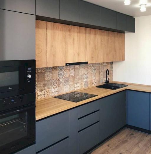 Высокие кухни под потолок-Кухня МДФ в эмали «Модель 676»-фото8